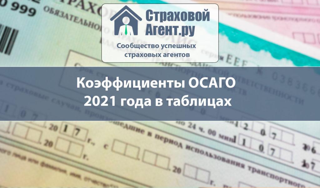Коэффициенты ОСАГО 2021 года в таблицах